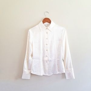 St. John Cream Blouse Button Up Down Silk Top